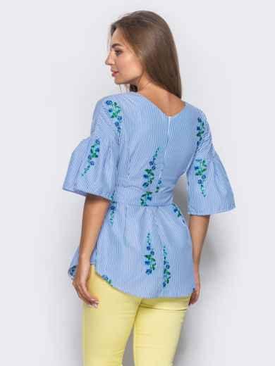 Приталенная блузка с синим принтом с рукавами-воланами - 10159, фото 3 – интернет-магазин Dressa
