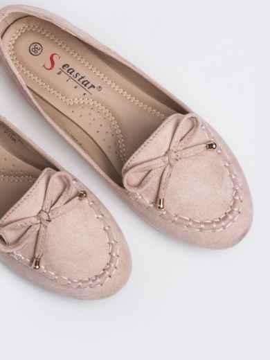 Розовые балетки из искусственной замши - 47519, фото 2 – интернет-магазин Dressa