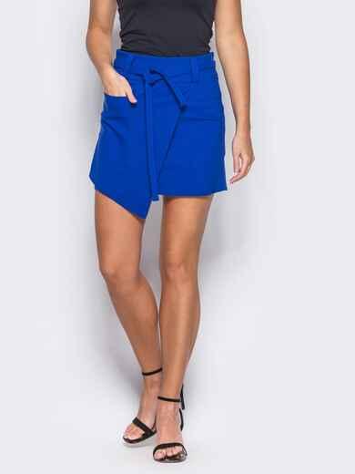 Синяя мини-юбка на запах - 12165, фото 2 – интернет-магазин Dressa