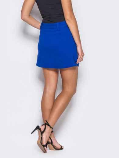 Синяя мини-юбка на запах - 12165, фото 3 – интернет-магазин Dressa