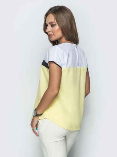 Желтая блузка свободного кроя со вставками - 39824, фото 2 – интернет-магазин Dressa