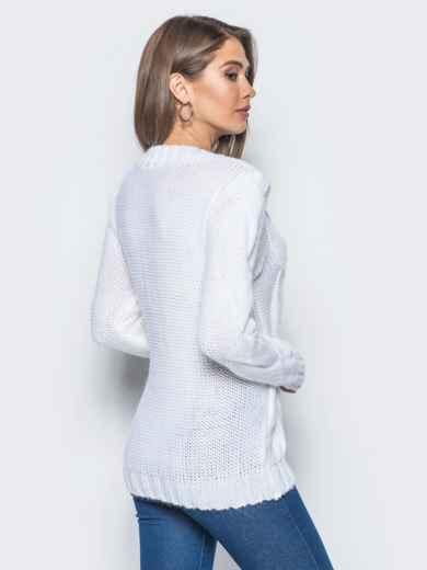 """Белый свитер с крупными """"косами"""" на полочке - 16042, фото 3 – интернет-магазин Dressa"""