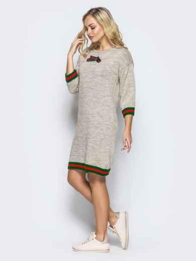 Бежевое шерстяное платье прямого кроя с рукавом / - 16095, фото 2 – интернет-магазин Dressa