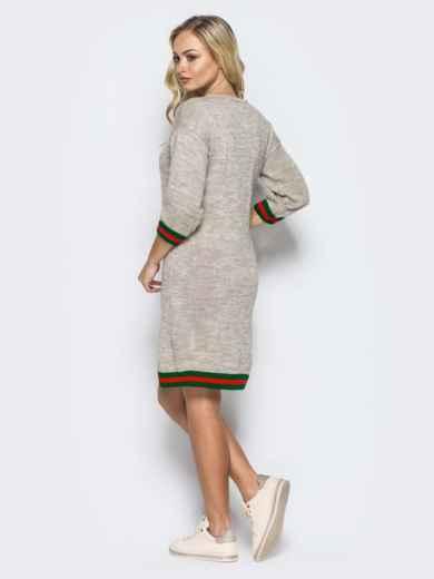 Бежевое шерстяное платье прямого кроя с рукавом / - 16095, фото 3 – интернет-магазин Dressa