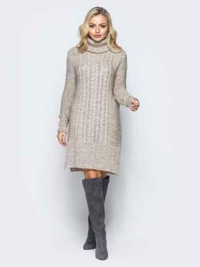 Бежевое вязаное платье с высоким воротником 16096, фото 1