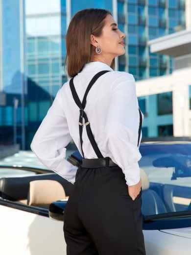 Блузка прямого кроя с накладными карманами белая - 40068, фото 2 – интернет-магазин Dressa
