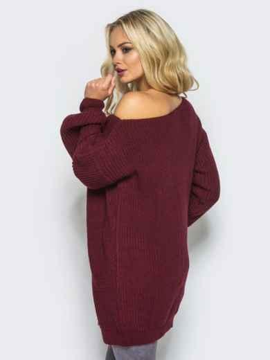 Бордовое платье-туника свободного кроя с открытыми плечами - 15924, фото 2 – интернет-магазин Dressa