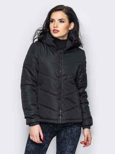 Черная куртка с капюшоном и манжетами на резинке 12956, фото 2