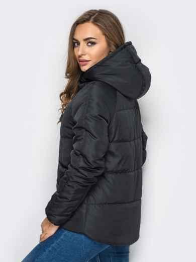 Куртка с капюшоном и накладными карманами черная - 12963, фото 2 – интернет-магазин Dressa