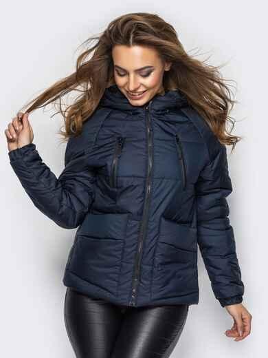 Куртка с капюшоном и накладными карманами тёмно-синяя 12959, фото 1