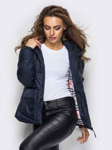 Куртка с капюшоном и накладными карманами тёмно-синяя - 12959, фото 2 – интернет-магазин Dressa
