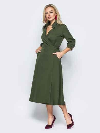 Платье-халат цвета хаки с отложным воротником - 16477, фото 2 – интернет-магазин Dressa