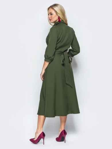 Платье-халат цвета хаки с отложным воротником - 16477, фото 3 – интернет-магазин Dressa