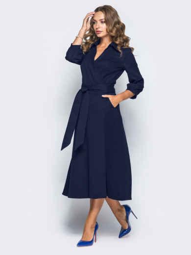 Платье-халат синего цвета с отложным воротником - 16476, фото 2 – интернет-магазин Dressa