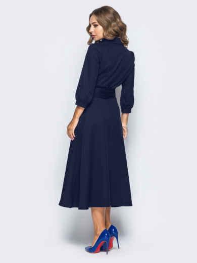 Платье-халат синего цвета с отложным воротником - 16476, фото 3 – интернет-магазин Dressa