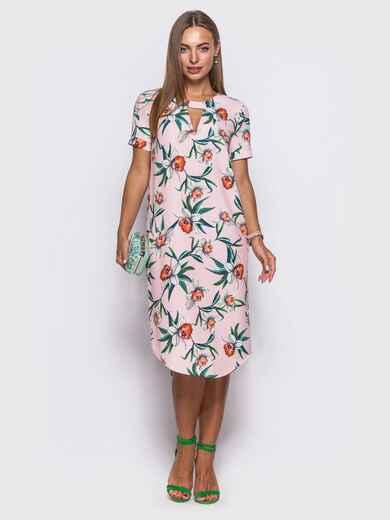 Платье с закругленным низом и короткими рукавами розовое 11551, фото 1
