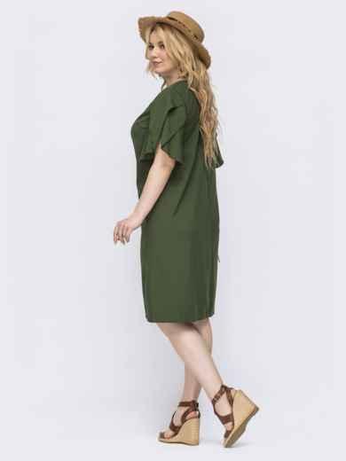 Платье-трапеция большого размера с воланом на рукавах хаки - 46138, фото 2 – интернет-магазин Dressa