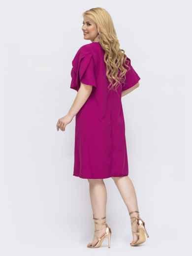 Платье-трапеция большого размера с воланом на рукавах розовое 46140, фото 2