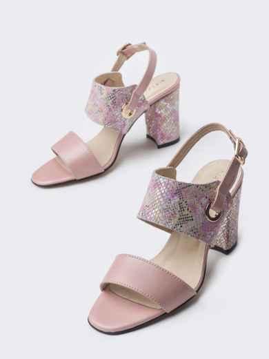 Пудровые босоножки на устойчивом каблуке - 38987, фото 2 – интернет-магазин Dressa