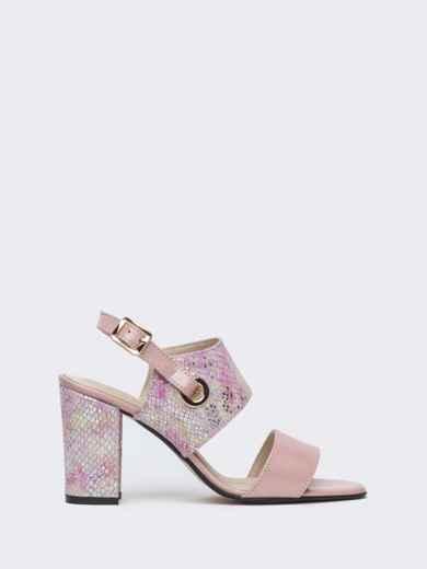 Пудровые босоножки на устойчивом каблуке - 38987, фото 5 – интернет-магазин Dressa