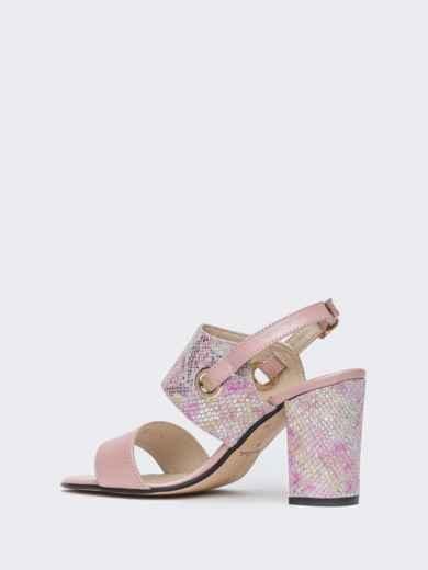 Пудровые босоножки на устойчивом каблуке - 38987, фото 6 – интернет-магазин Dressa