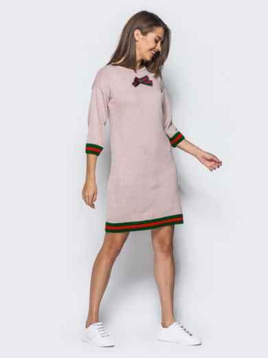 Розовое шерстяное платье прямого кроя с рукавом / - 15920, фото 2 – интернет-магазин Dressa