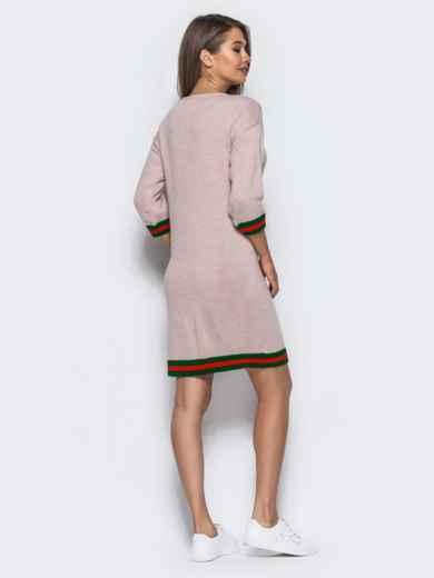 Розовое шерстяное платье прямого кроя с рукавом / - 15920, фото 3 – интернет-магазин Dressa