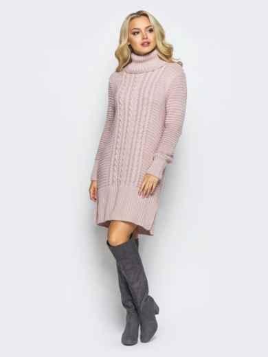Розовое вязаное платье с высоким воротником 15922, фото 1