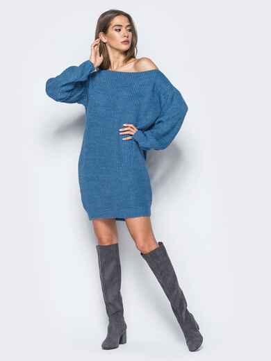 Синее платье-туника свободного кроя с открытыми плечами 15926, фото 1