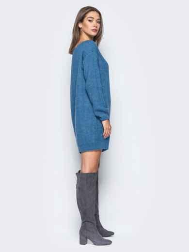 Синее платье-туника свободного кроя с открытыми плечами - 15926, фото 2 – интернет-магазин Dressa