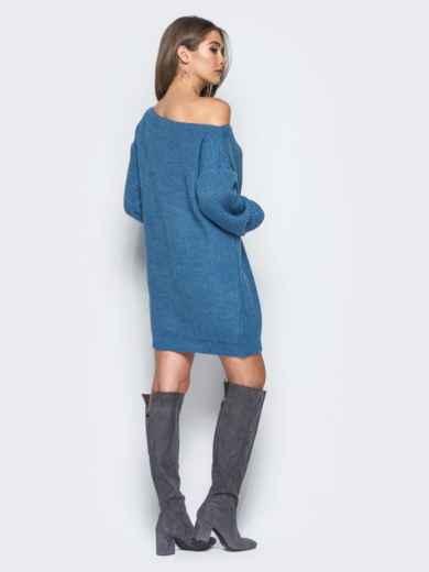Синее платье-туника свободного кроя с открытыми плечами - 15926, фото 3 – интернет-магазин Dressa
