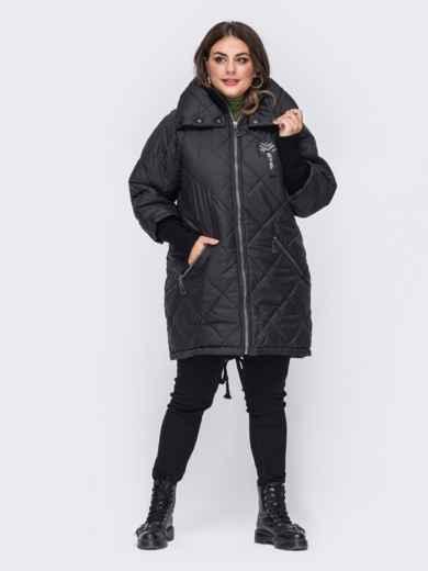 Стеганая куртка батал с трикотажными манжетами чёрная 50753, фото 1
