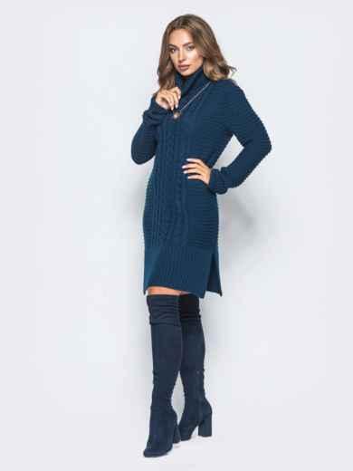 Тёмно-синее вязаное платье с высоким воротником - 15921, фото 2 – интернет-магазин Dressa
