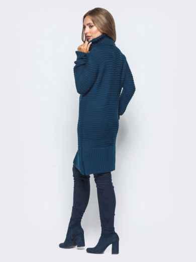 Тёмно-синее вязаное платье с высоким воротником - 15921, фото 3 – интернет-магазин Dressa