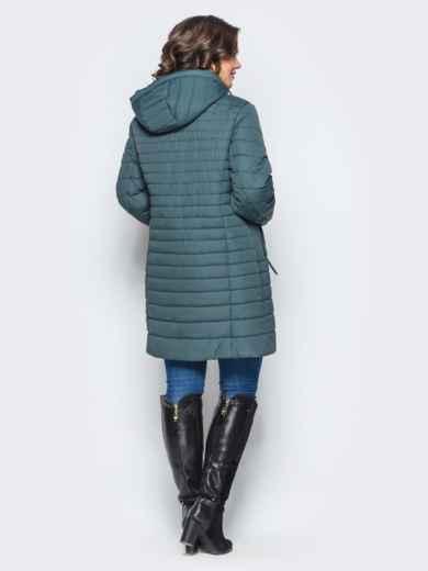 Удлиненная куртка со съемным капюшоном и заклёпкой на карманах бирюзовая - 16953, фото 2 – интернет-магазин Dressa