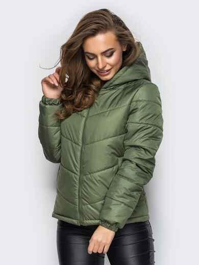Зелёная куртка с капюшоном и манжетами на резинке - 12957, фото 1 – интернет-магазин Dressa