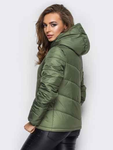 Зелёная куртка с капюшоном и манжетами на резинке - 12957, фото 2 – интернет-магазин Dressa