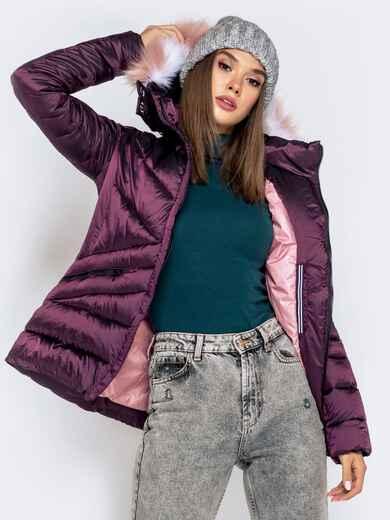 Зимняя куртка со съёмным капюшоном фиолетовая 40170, фото 1