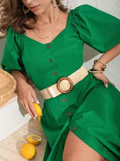 Бежевый ремень с деревянной пряжкой круглой формы 54196, фото 1