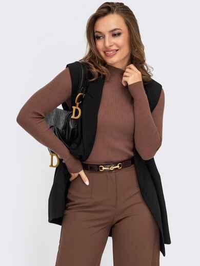 Гольф коричневого цвета из вязаного трикотажа  55176, фото 1