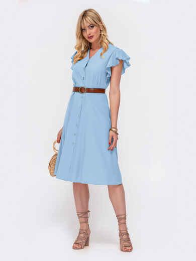 Платьеприталенногосилуэтасрукавомкрылышко голубое 54601, фото 1