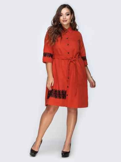 Платье-рубашка красного цвета с гипюровыми вставками - 19167, фото 2 – интернет-магазин Dressa