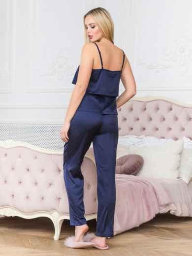 Синяя пижама с воланом на топе и брюками - 18932, фото 2 – интернет-магазин Dressa