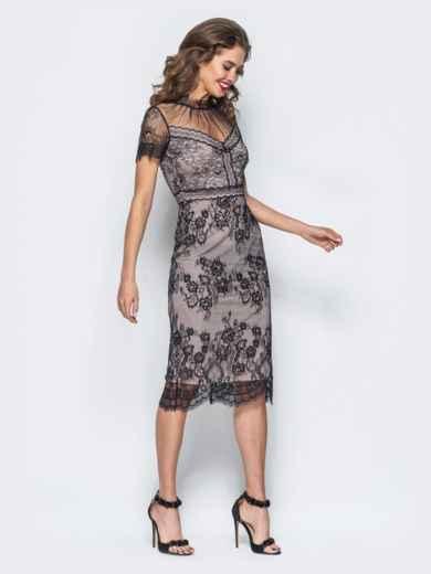 Трикотажное платье-футляр с контрастным кружевом - 17898, фото 3 – интернет-магазин Dressa