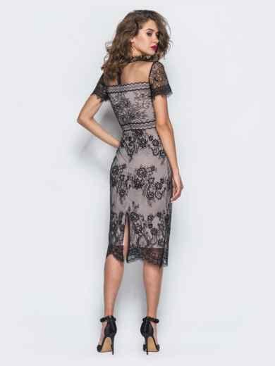 Трикотажное платье-футляр с контрастным кружевом - 17898, фото 5 – интернет-магазин Dressa