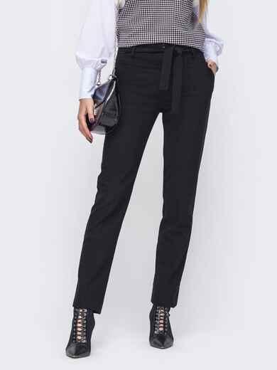 Зауженные брюки со стандартной посадкой чёрные 51675, фото 1