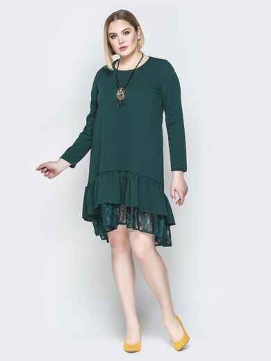Зелёное платье-трапеция с многослойным воланом по низу 19954, фото 1