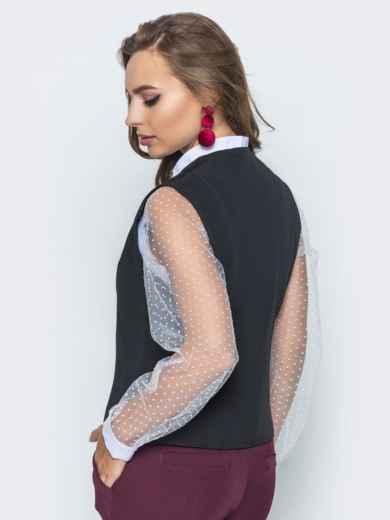 Жилет ассиметричного кроя на пуговицах черный - 14443, фото 3 – интернет-магазин Dressa