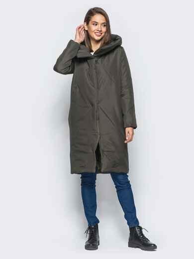 Зимняя стеганая куртка с капюшоном зеленая - 15664, фото 1 – интернет-магазин Dressa