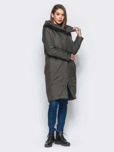 Зимняя стеганая куртка с капюшоном зеленая - 15664, фото 2 – интернет-магазин Dressa